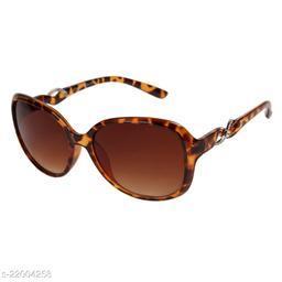 LOF Leopard UV Protected Rectangle Women Sunglass (LS-KE002_3 I56I Brown Color Lens)
