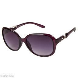 LOF Purple UV Protected Rectangle Women Sunglass (LS-KE002_4 I56I Grey Color Lens)