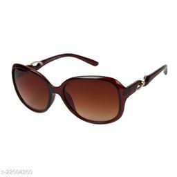 LOF Brown UV Protected Rectangle Women Sunglass (LS-KE002_2 I56I Brown Color Lens)