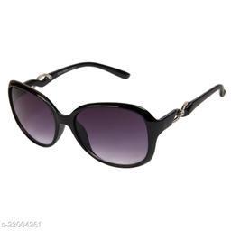 LOF Black UV Protected Rectangle Women Sunglass (LS-KE002_1 I56I Grey Color Lens)