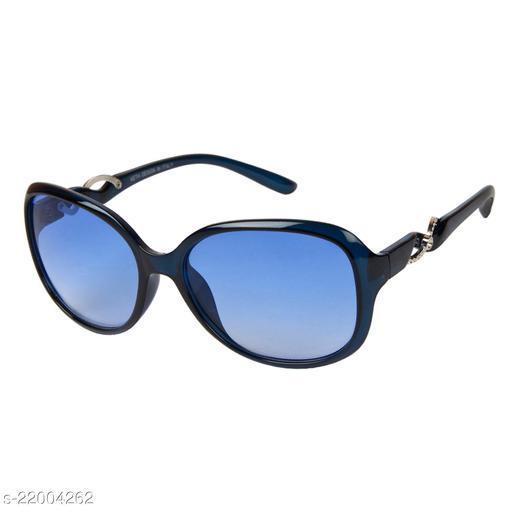 LOF Blue UV Protected Rectangle Women Sunglass (LS-KE002_5 I56I Blue  Color Lens)