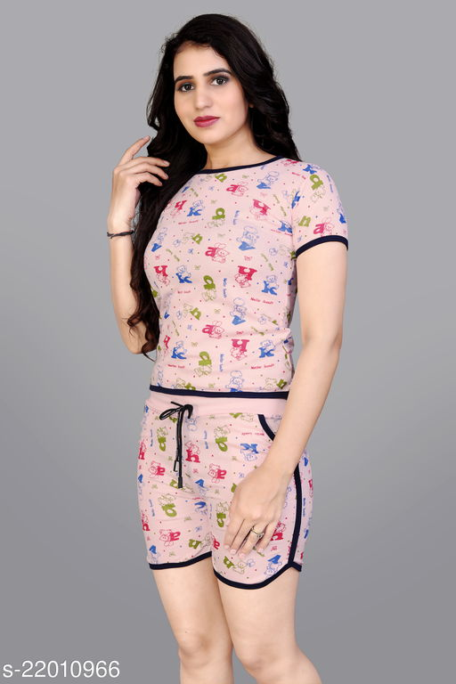 Comfy Queen Night Wear(T-Shirts & Shorts)(Size:-S,M,L)(Colour And Design Will Not Same As Photo Always All The Time)
