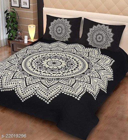 COTTON BEDSHEET 90x100  WITH 2 PILLOW COVER(QUEEN SIZE)