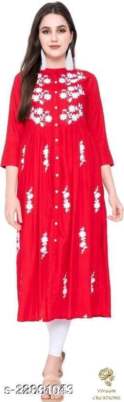 Women's  Rayon Embroidered Long Kurta