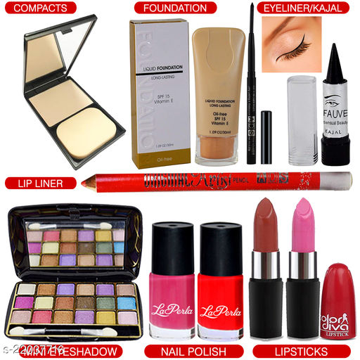Adbeni Combo - All Time Favourite Makeup Combo with 18 Color Eyeshadow, Pack of 10, (GC1448)