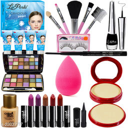 Adbeni Combo - All in One Makeup Combo With Laperla Facial Kit For Glamorous Look, Pack of 19, (GC1449)