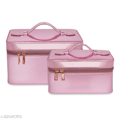 NFI essentials Makeup Bag Set of 2   Cosmetic Box   Jewellery Bridal Box   Trousseau Box   Vanity Beauty Case Organizer for Wedding   Makeup Big Box