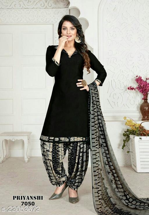 Fab Kudi Black Crepe Printed Unstitched Salwar Suit Material