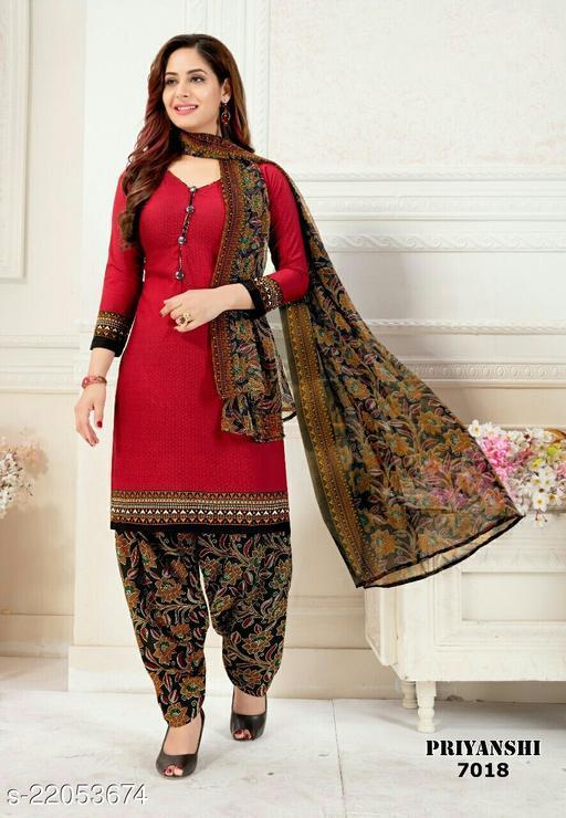 Fab Kudi Red Crepe Printed Unstitched Salwar Suit Material