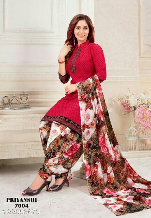 Fab Kudi Pink Crepe Printed Unstitched Salwar Suit Material