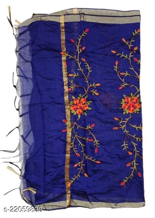 Chanderi Silk Embroidered Dupatta Navy Blue