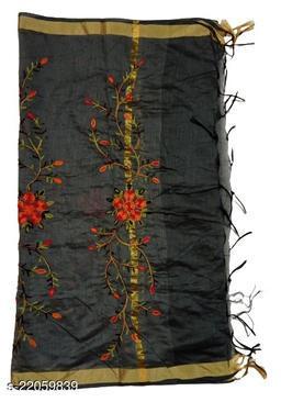 Chanderi Silk Embroidered Dupatta Black