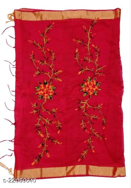 Chanderi Silk Embroidered Dupatta Red