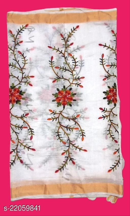 Chanderi Silk Embroidered Dupatta White