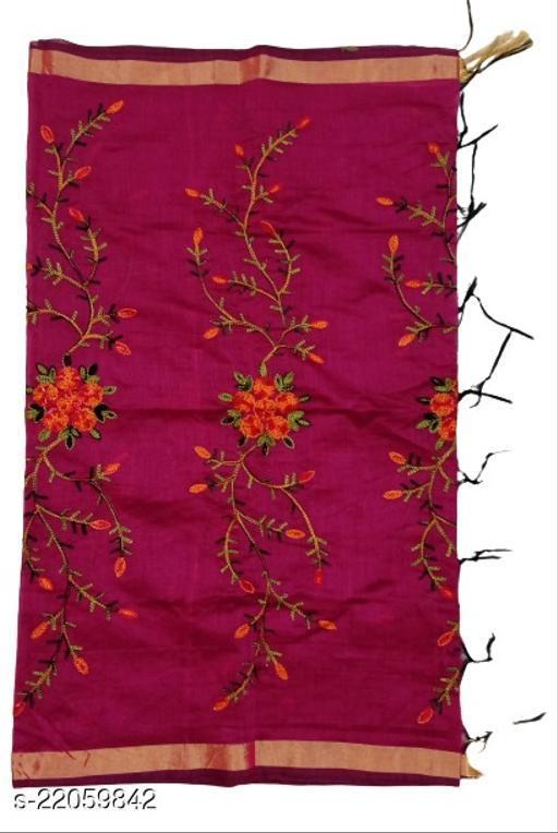Chanderi Silk Embroidered Dupatta Maroon