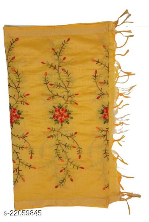 Chanderi Silk Embroidered Dupatta Yellow
