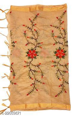 Chanderi Silk Embroidered Dupatta Gold