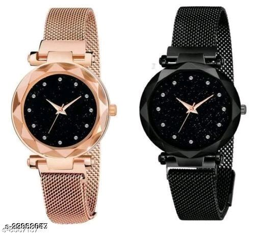 Classic Megnet Diamand Point COMBO Watch For Women AND Girls And Best Wife