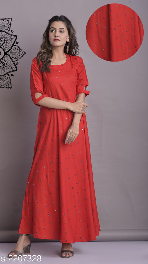 Kurta Sets Classy Designer Women's Kurti  *Fabric* Kurti- Rayon  *Sleeves* Sleeves Are Included  *Size* Kurti- S - 36 in, M - 38 in, L - 40 in, XL - 42 in, XXL - 44 in  *Length * Kurti- Up To 57 in  *Type* Stitched  *Description* It Has 1 Piece Of Women's Kurti  *Work * Kurti-  Mirror Work  *Sizes Available* S, M, L, XL, XXL *   Catalog Rating: ★4.1 (45)  Catalog Name: Women's Striped Rayon Kurta Sets CatalogID_293305 C74-SC1003 Code: 115-2207328-