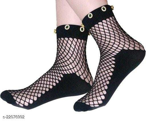 PinKit Women's Ultra-Thin Transparent Net Elastic Pearl Short Ankle Socks - Black - Pack1 - Pearl color may vary