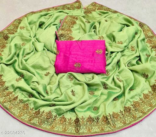 Embroidered Vichitra Silk Saree With Blouse Piece