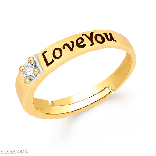 VSHINE Adjustable Propose Gents Ring Exclusive Collection Love Heart Valentine American Diamond Studded Gold Plated Free Size Stylish Fancy Party Wear Latest Design Fashion Jewellery for Mens & Boys