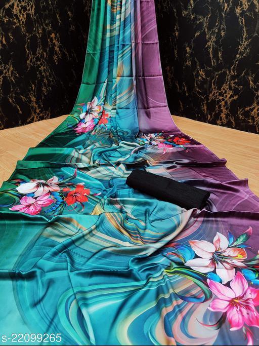 Heavy Satin Soft Silk Printed Saree