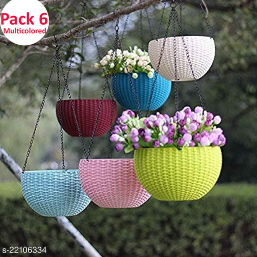 Set of 6 Multicolored Rattan Woven Plastic Hanging Pots For Balcony   Hanging Planters With Metal Hanging Chain  Hanging Flower Pots For Garden ( 7.1 x 4.8 Inch) (Flowers Not Included)