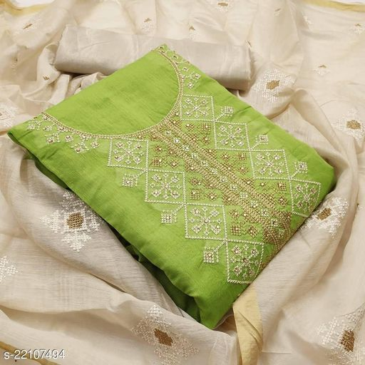Chanderi Modal Embroidery Work with Hand Work Dress Material