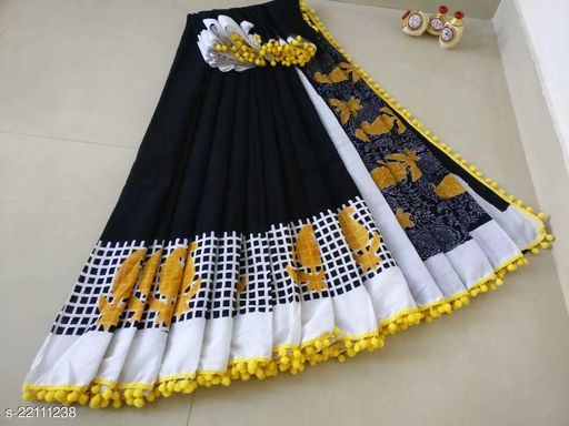 NEW COLLECTION HAND BLOCK PRINTED POM POM SUPER DYING MUL MUL COTTON SAREE WITH BLOUSE PICE BAGRU PRINT FANCY SAREE