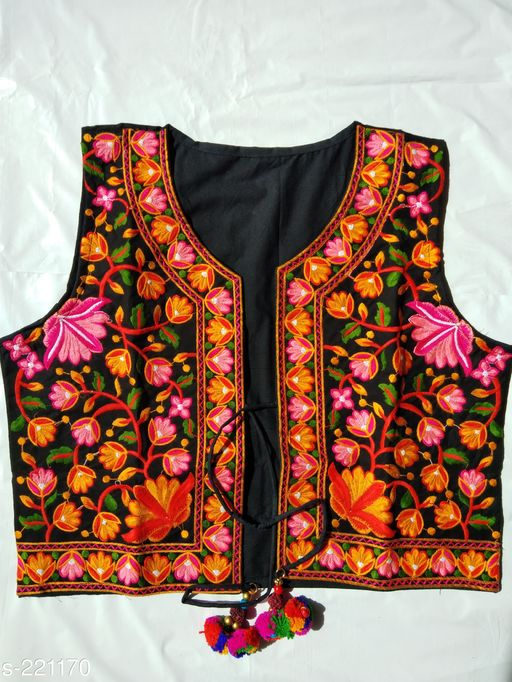 Ethnic Jackets & Shrugs Kutchi Cotton Jacket  *Fabric* Jacket – Cotton   *Sleeves* Sleeves Are Not Included   *Size* XXL - 44 in, 3XL - 46 in   *Length* Up To 16 in 18 in   *Type* Stitched   *Description* It Has 1 Piece Of Jacket   *Work* Kutchi Work  *Sizes Available* S, M, L *   Catalog Rating: ★4 (23)  Catalog Name: Kutchian Fancy Jackets Vol 21 CatalogID_22541 C74-SC1008 Code: 093-221170-