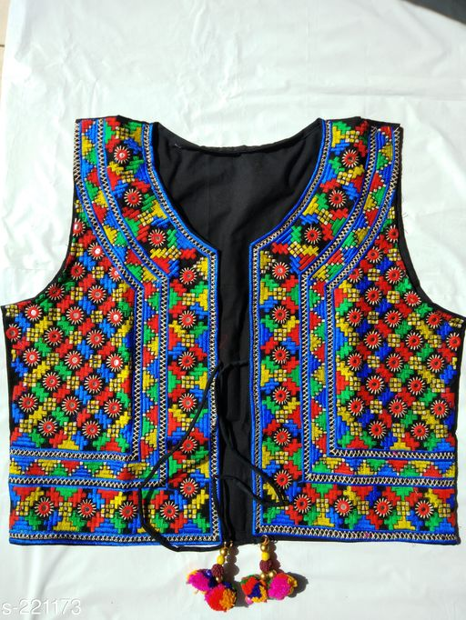 Ethnic Jackets & Shrugs Kutchi Cotton Jacket  *Fabric* Jacket – Cotton   *Sleeves* Sleeves Are Not Included   *Size* XXL - 44 in, 3XL - 46 in   *Length* Up To 16 in 18 in   *Type* Stitched   *Description* It Has 1 Piece Of Jacket   *Work* Kutchi Work  *Sizes Available* S, M, L *   Catalog Rating: ★4 (23)  Catalog Name: Kutchian Fancy Jackets Vol 21 CatalogID_22541 C74-SC1008 Code: 093-221173-