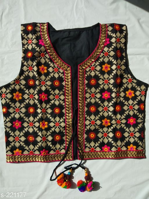 Ethnic Jackets & Shrugs Kutchi Cotton Jacket  *Fabric* Jacket – Cotton   *Sleeves* Sleeves Are Not Included   *Size* XXL - 44 in, 3XL - 46 in   *Length* Up To 16 in 18 in   *Type* Stitched   *Description* It Has 1 Piece Of Jacket   *Work* Kutchi Work  *Sizes Available* S, M, L *   Catalog Rating: ★4 (23)  Catalog Name: Kutchian Fancy Jackets Vol 21 CatalogID_22541 C74-SC1008 Code: 093-221177-