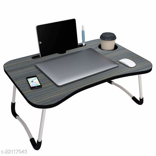 Lvy&Lane Foldable Bed Study Table Portable Multifunction Laptop Table Lapdesk for Children Bed Foldabe Table Work Office Home with Tablet Slot & Cup Holder Bed Study Table (WOODEN)