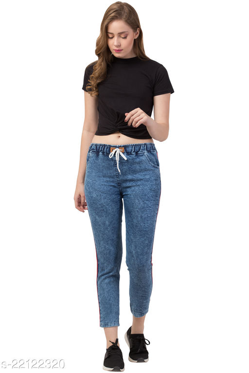 Coutume Collections Side Striped Joggers Jeans For Women