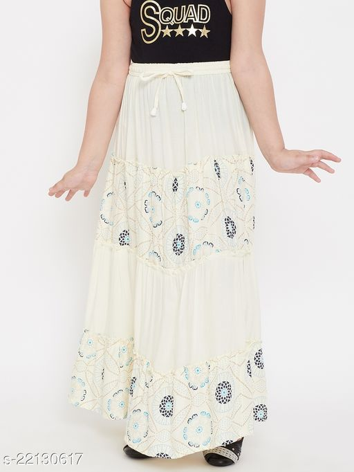 Baani Cream Printed Rayon Skirt