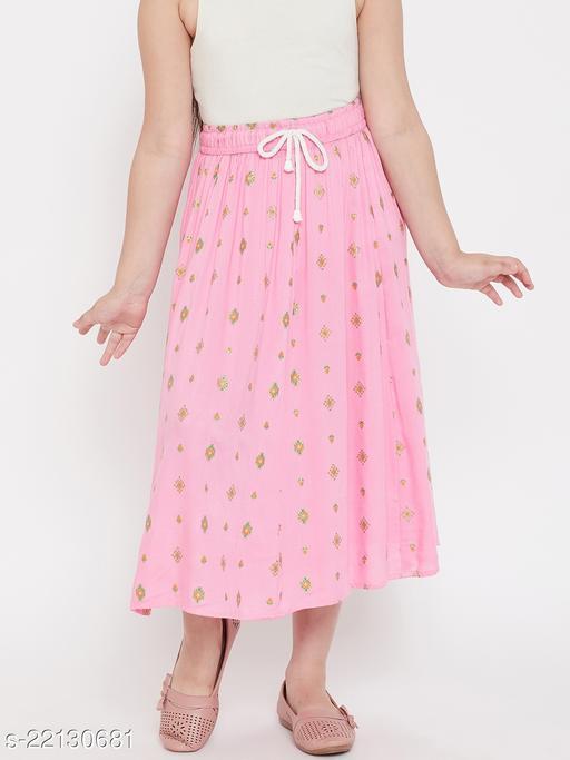 Baani Pink Printed Flared Rayon Skirt