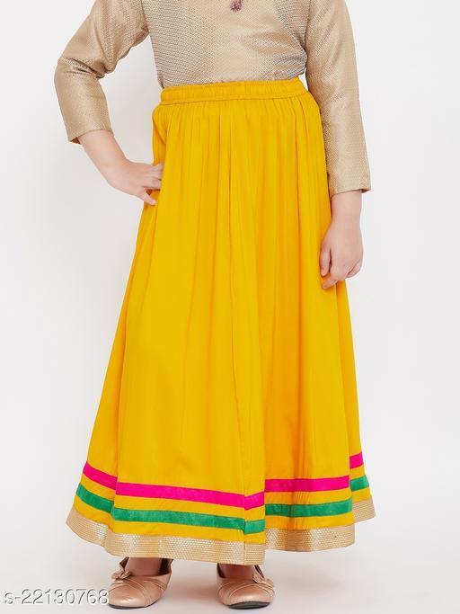 Baani Mustard Solid Rayon Skirt