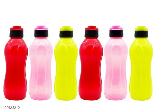 Harsh Pet Crown Fliptop Cap Water Bottles Set of 6 Pcs (Multicolor)