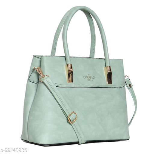 Trendy Women's Green Faux Leather/Leatherette Messenger Bags