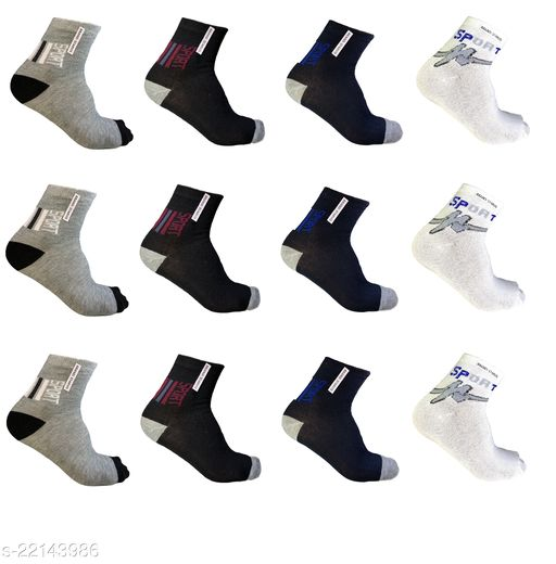 Casual Multicolor cotton sports Ankle socks -Pack of 12