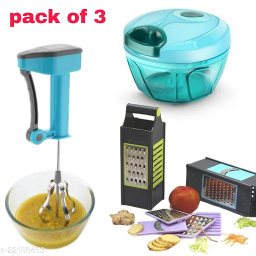 branzy new combo chopper (450ml) and power free hand blander and 4 in 1 slicer ( pack of 3 )