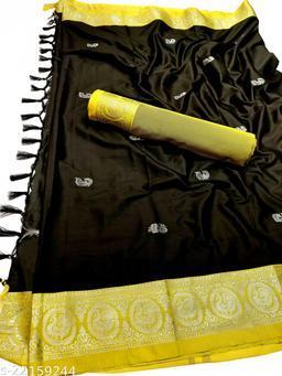 Morbangadi Irkal Paithani Silk Sarees With Contrast Blouse Piece (Black & Neon)