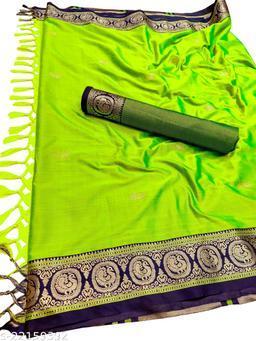 Morbangadi Irkal Paithani Silk Sarees With Contrast Blouse Piece (Neon Green & Blue)
