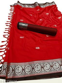 Morbangadi Irkal Paithani Silk Sarees With Contrast Blouse Piece (Red & Black)