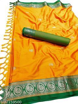 Morbangadi Irkal Paithani Silk Sarees With Contrast Blouse Piece (Yellow & Green)