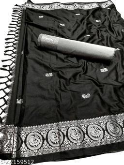 Morbangadi Irkal Paithani Silk Sarees With Contrast Blouse Piece (Black & Silver)