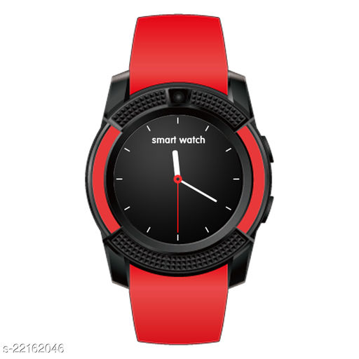 Goosprey V8 Bluetooth Smartwatch Red Compatible with Android and IOS Mobiles