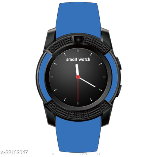 Goosprey V8 Bluetooth Smartwatch Blue Compatible with Android and IOS Mobiles