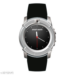 Goosprey V8 Bluetooth Smartwatch Silver Compatible with Android and IOS Mobiles